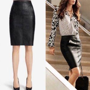 CAbi Black Faux Leather Pencil Skirt 16